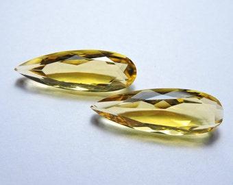 2 Pieces Beautiful Citrine Quartz Faceted Pear Shaped Briolette Loose Gemstone Size 31X11 MM