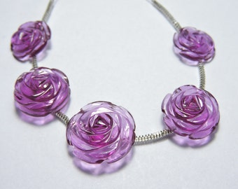 5 Pcs Very Attractive Rubilite Quartz Hand Carved Rose Flower Beads Size 17X17 - 13X13 MM