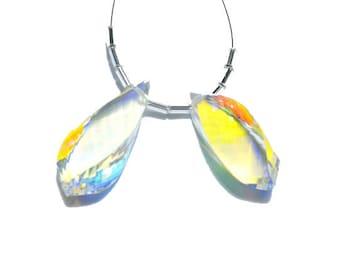 2 Pcs Very Beautiful Mystic Quartz Faceted Twisted Drops Briolette Size 30X10 MM