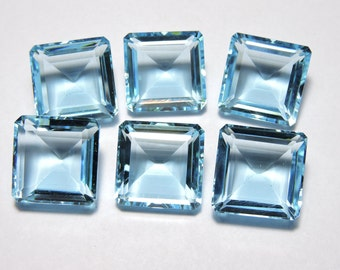 6 Pieces Beautiful Sky Blue Quartz Faceted Square Shaped Loose Gemstone Size 16X16 MM