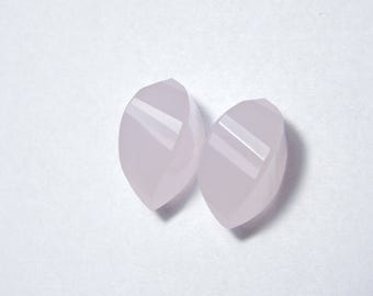 2 Pieces Extremely Beautiful Rose Pink Chalcedony Faceted Twisted Drops Briolette Size 19X10 MM
