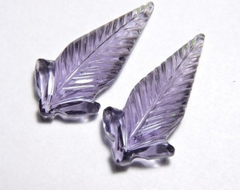 2 Pieces Beautiful Purple Amethyst Quartz Hand Carved Leaves Shaped Loose Gemstone Size 30X15 MM