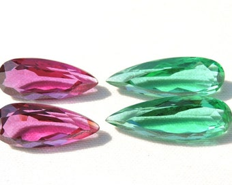 4 Pieces Beautiful Rubelite And Teal Green Quartz Faceted Pear Shaped Briolette Loose Gemstone Size 31X11- 26X11MM