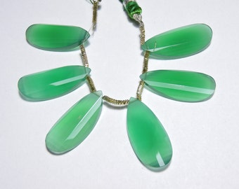 6 Pcs Extremely Beautiful Natural Green Onyx Faceted Curved Pear Shaped Gemstone Beads Size 30X13 MM