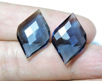 2 Pcs Extremely Beautiful Kayanite Blue Quartz Faceted Fancy Spiral Shape Loose Gemstone Beads Size 25X15 MM