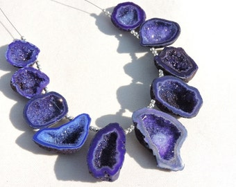 10 Pieces Extremely Beautiful Natural Sparkling Purple Druzy Caves Slice Beads Size 18X17-36X26 MM