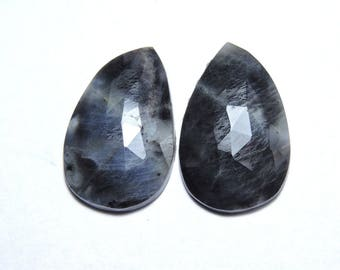 2 Pcs Matched Pair Natural Grey Sapphire Faceted Rose Cut Fancy Shaped Loose Gemstone Beads .100% Natural Beads. Size 23X15 MM