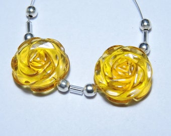 2 Pcs Very Attractive Yellow Citrine Quartz Hand Carved Flower Shaped Beads Size 18X18 MM