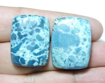 2 Pcs Matched Pair Natural Fancy Shaped Smooth Polished Dotted Blue Jasper Size 30X22 MM