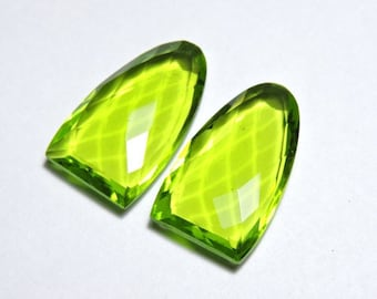 2 Pieces Extremely Beautiful Peridot Green Quartz Faceted One Side Checker And One Side Table Cut Fancy Shaped Loose Gemstone Size 25X15 MM