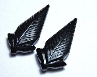 2 Pieces Extremely Beautiful Natural Black Onyx Hand Carved Leaves Shaped Loose Gemstone Size 30X15 MM