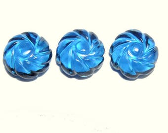 3 Pieces Extremely Beautiful London Blue Quartz Hand Carved Flower Shaped Loose Gemstone Size 13X13 MM