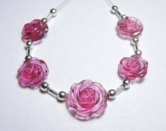 5 Pieces Extremely Beautiful Pink Quartz Hand Carved Rose Flower Shaped Beads Size 13X13-17X17 MM