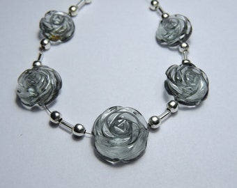 5 Pieces Beautiful Grey Quartz Hand Carved Rose Flower Shaped Beads Size 13X13-17X17 MM