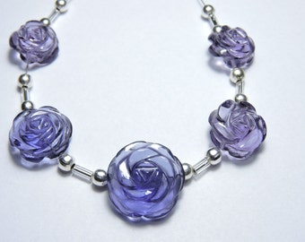 5 Pcs Very Attractive Purple Amethyst Quartz Hand Carved Rose Flower Beads Size 13X13-17X17 MM
