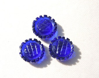 3 Pieces Extremely Beautiful Cobalt Blue Quartz Carved Round Shaped Loose Gemstone Size 13X13