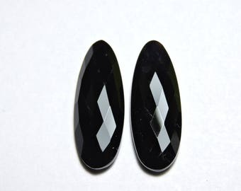 2 Pcs Very Beautiful Natural Black Onyx Faceted Fancy Oval Shaped Loose Gemstone Beads Size 30X11 MM