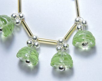 4 Pieces Extremely Beautiful Apple Green Quartz Hand Carved Jhumkas. Bell Shaped Beads Size 13X13 MM