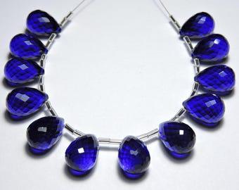 12 Pcs Very Beautiful Cobalt Blue Quartz Faceted Drops Briolettes Size 16X11 MM