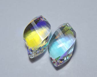 2 Pcs Extremely Beautiful Mystic Quartz Faceted Twisted Drops Briolette Size 25X12 MM