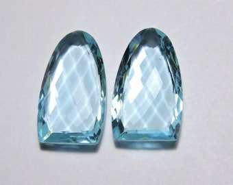 2 Pieces Sky Blue Quartz Faceted One Side Checker Cut And One Side Table Cur Fancy Shaped Loose Gemstone Size 25X15 MM