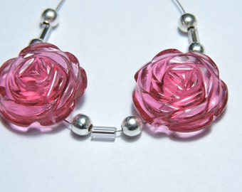 2 Pcs Very Attractive Rubilite Pink Quartz Hand Carved Flower Shaped Beads Size 18X18 MM