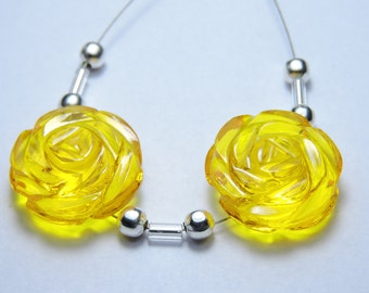 2 Pcs Very Attractive Yellow Quartz Hand Carved Flower Shaped Beads Size 18X18 MM