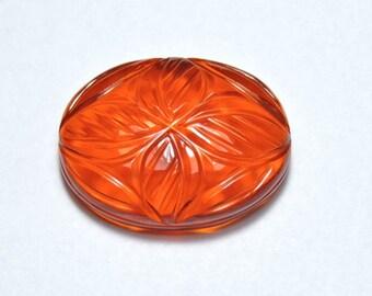 1 Piece Extremely Beautiful Orange Quartz Hand Carved Oval Shaped Loose Gemstone Size 28X22 MM