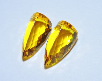 2 Pieces Beautiful Yellow Quartz Faceted Triangular Shaped Loose Gemstone Size 21X11 MM