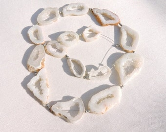 15 Pieces Beautiful Natural White Druzy Fancy Shaped Slice Beads Size 20X18-36X24 MM