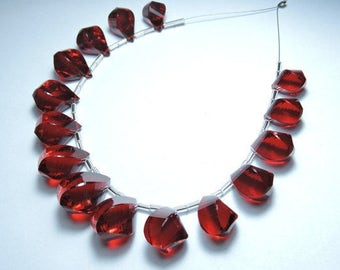 15 Pcs Very Beautiful Red Quartz  Faceted Twisted Drops Briolette Size 22X13 - 14X9 MM