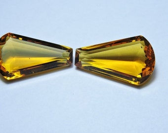 2 Pcs Very Attractive Yellow Citrine Quartz Faceted fancy Shape Loose Gemstone Beads Size 25x15MM