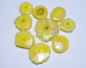 9 Pcs Extremely Beautiful Natural Yellow Solar Quartz Smooth Polished Fancy Round Shape Druzy Beads Size 32X32 - 22X22 MM