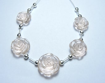 5 Pcs Very Attractive Rose Pink Quartz Hand Carved Rose Flower Beads Size 17X17 - 13X13 MM