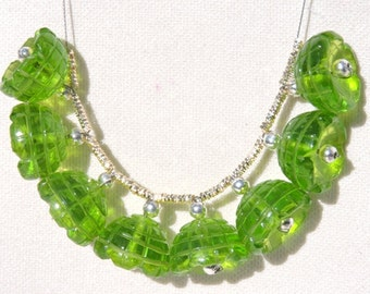 8 Pieces Extremely Beautiful Green Quartz Hand Carved Jhumkas. Bells Shaped Beads Size 13x13