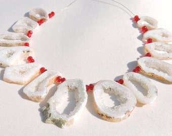 13 Pieces Beautiful Natural White Druzy Fancy Shaped Slice Beads Size 17X13-43X24 MM