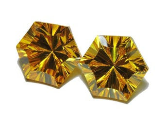 2 Pieces Very Beautiful Citrine Quartz Concave Cut Star Loose Gemstone Size 10X10 MM