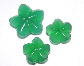 3 Pieces Extremely Beautiful Natural Green Onyx Carved Flower Shaped Loose Gemstone Size 24X24-18X18 MM