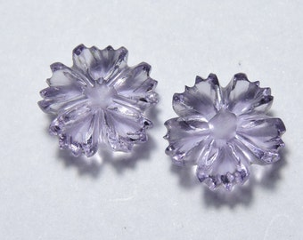 2 Pcs Very Beautiful Natural Purple Amethyst Hand Carved Flower Shape Beads Size 12X12 MM