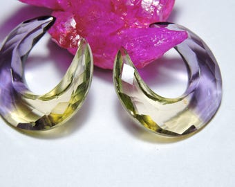 2 Pieces Very Beautiful Ametrine Quartz Faceted Moon Shaped Loose Gemstone Beads Size 26X8 MM