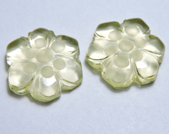 2 Pcs Very Beautiful Natural Lemon Topaz  Hand Carved Flower Shape Beads Size 15X15 MM