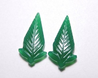 2 Pcs Very Attractive Natural Green Onyx Hand Carved Leaves Shape Gemstone Beads Size 30X15 MM