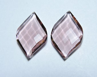 2 Pcs Extremely Beautiful Rohdolite Quartz Faceted Fancy Spiral Shape Loose Gemstone Beads Size 25X15 MM