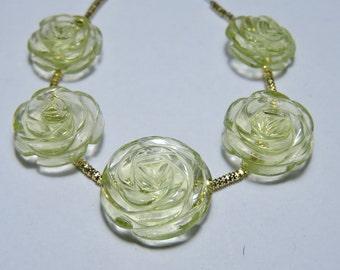 5 Pieces Beautiful Lemon Quartz Hand Carved Rose Flower Shaped Beads Size 17X17 - 13X13 MM