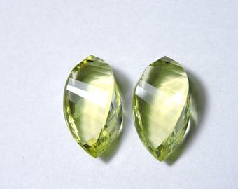 2 Pieces Extremely Beautiful Lemon Quartz Faceted Twisted Drops Briolette Size 19X10 MM