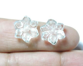 2 Pcs Very Beautiful Natural Rock Crystal Quartz Hand Carved Flower Shape Beads Size 15X15 MM