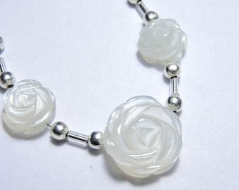 3 Pieces Extremely Beautiful Natural White Moonstone Hand Carved Rose Flower Shaped Beads Size 10X10-17X17 MM