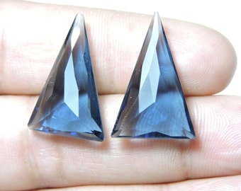 2 Pieces Extremely Beautiful Kyanite Blue Quartz Fine Faceted Triangle Shaped Beads Size 25X16 MM