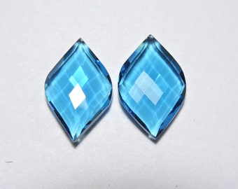 2 Pcs Very Attractive London Blue Quartz Faceted Fancy Spiral Shape Loose Gemstone Beads Size 25x15 MM