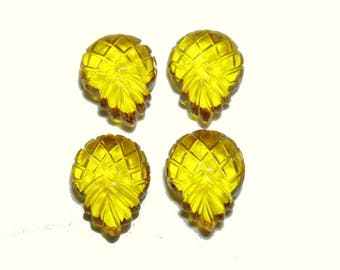 4 Pieces Gorgeous Yellow Quartz Hand Carved Pine Apple Shaped Loose Gemstone Size 16X12 MM